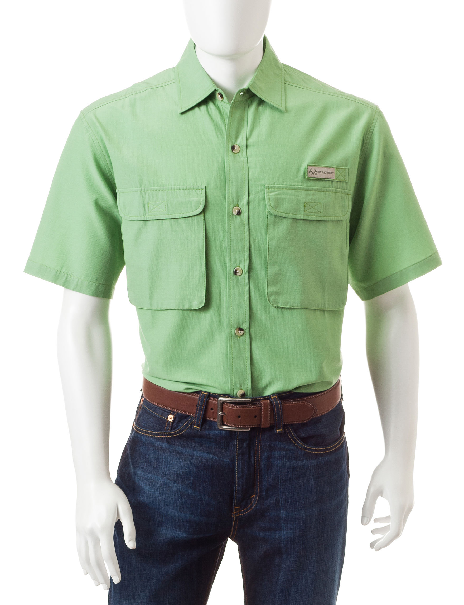 Realtree Seagreen Casual Button Down Shirts
