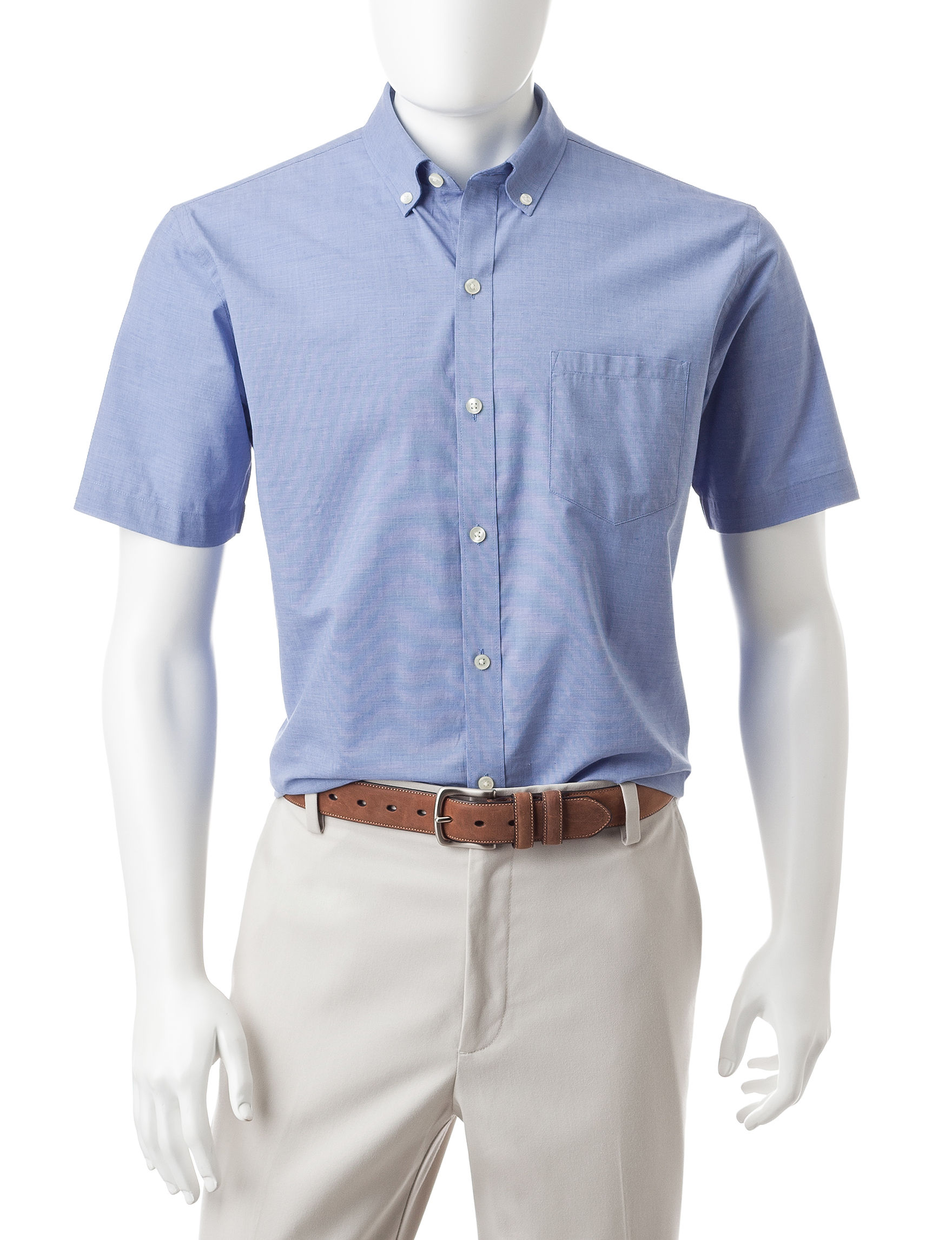 Van Heusen Blue Forever Blue Casual Button Down Shirts