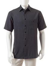 Haggar Plaid Print Microfiber Woven Shirt