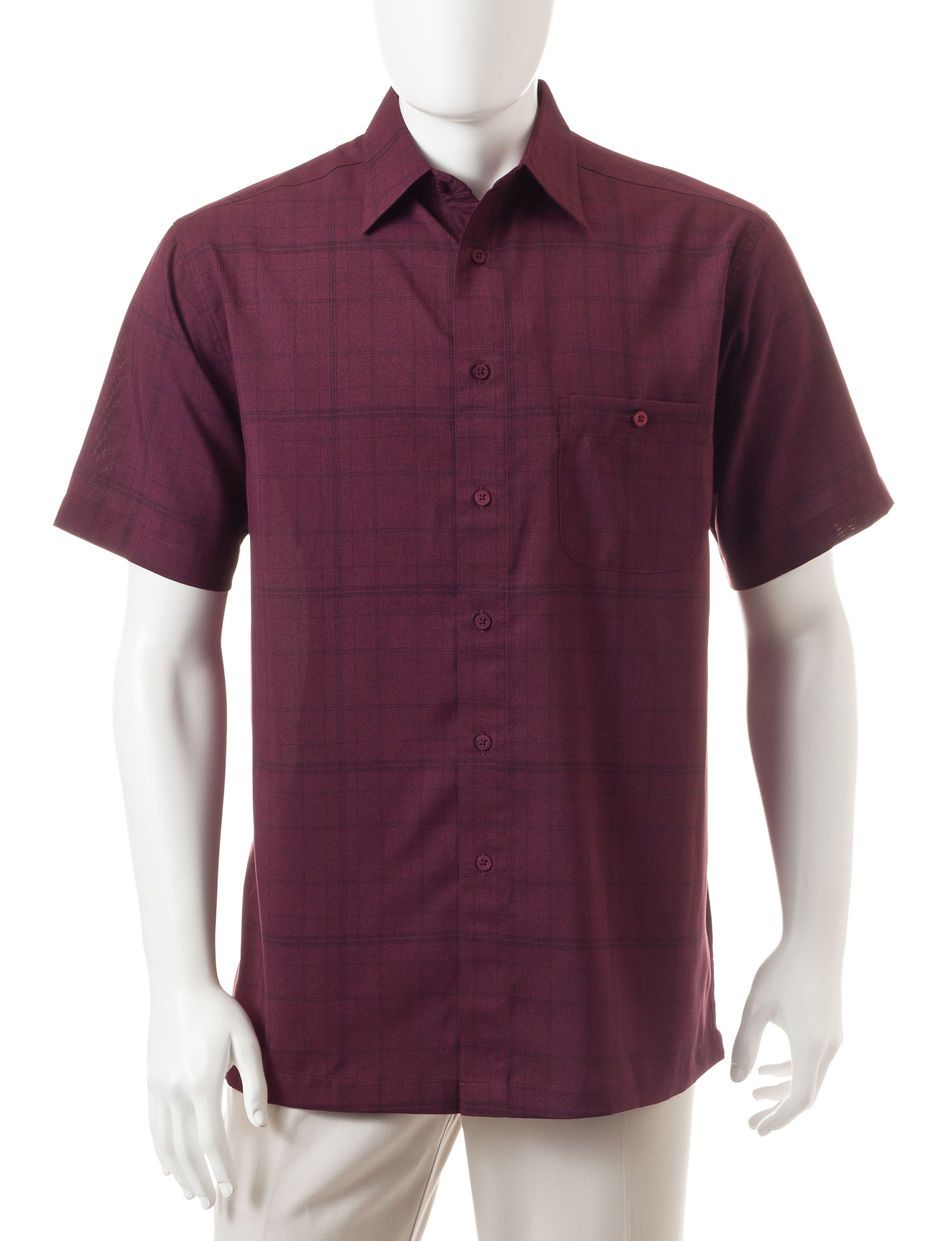 Haggar Dark Purple Casual Button Down Shirts
