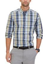 Nautica Blue & Yellow Plaid Print Woven Shirt
