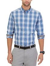 Nautica Blue Slub Plaid Woven Shirt