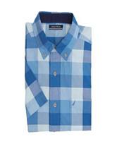 Nautica Blue Buffalo Plaid Print Woven Shirt