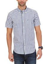 Nautica Navy & White Plaid Print Poplin Woven Shirt