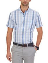 Nautica Blue Plaid Print Woven Shirt
