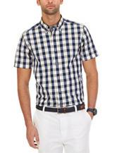 Nautica Navy & Yellow Box Check Print Woven Shirt