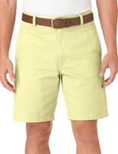 Chaps Solid Color Yellow Flat Front Twill Shorts