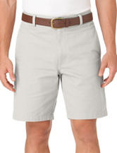 Chaps Solid Color White Flat Front Twill Shorts