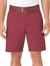 Chaps Solid Color Red Flat Front Twill Shorts