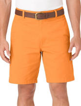 Chaps Solid Color Orange Flat Front Twill Shorts