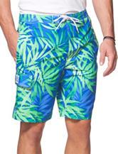 Chaps Multicolored Leaf Print Swim Shorts