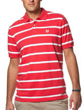 Chaps Red & White Classic Striped Print Polo Shirt