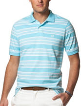 Chaps Blue & White Striped Print Polo Shirt