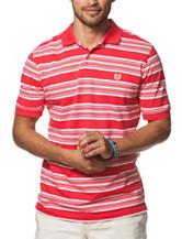 Chaps Red & White Striped Print Polo Shirt