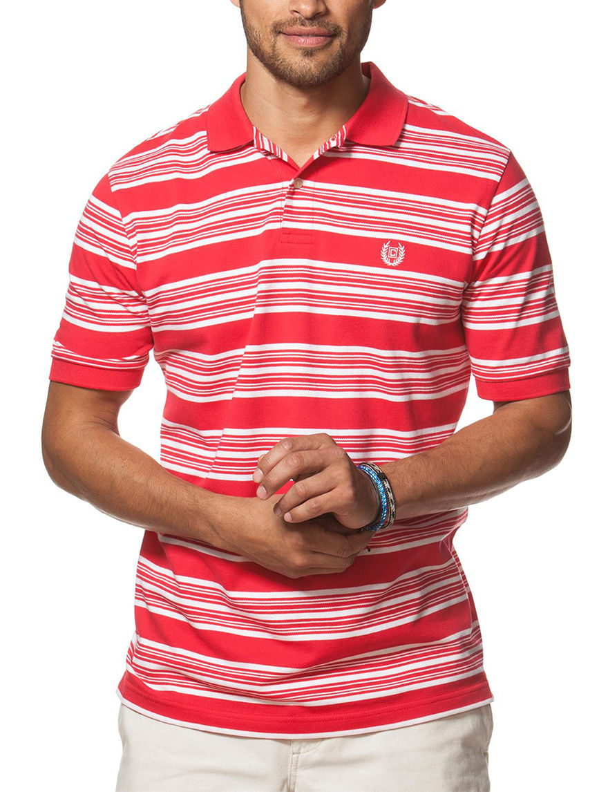 Chaps red white striped print polo shirt stage stores for Red white striped polo shirt