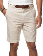 Chaps Beige Oxford Belted Shorts