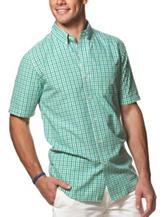 Chaps Tonal Green Gingham Print Shirt