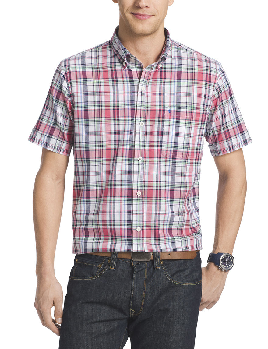 Izod Claret Red Casual Button Down Shirts