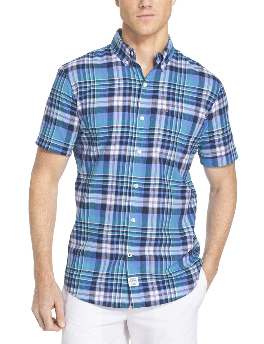 Izod Blue Casual Button Down Shirts