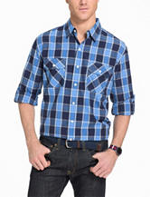 Izod Check Print Surfcaster Roll Tab Woven Shirt