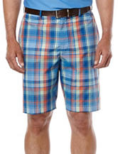 Jack Nicklaus Madras Plaid Print Flat Front Shorts
