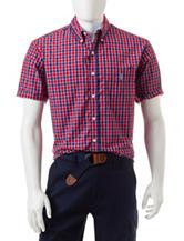 U.S. Polo Assn. Blue & Red Check Print Woven Shirt
