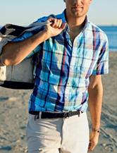 Chaps Big & Tall Multicolor Plaid Print Woven Shirt