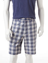 Sun River Multicolor Plaid Flat Front Shorts