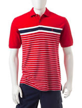 Izod Americana Striped Print Performance Polo Shirt