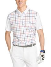 Izod Multicolor Grid Plaid Print Polo Shirt