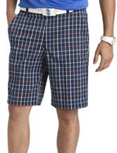 Izod Plaid Flat Front Straight Fit Shorts