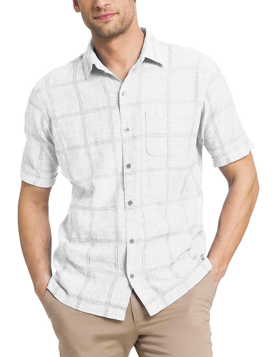 Van Heusen White Casual Button Down Shirts