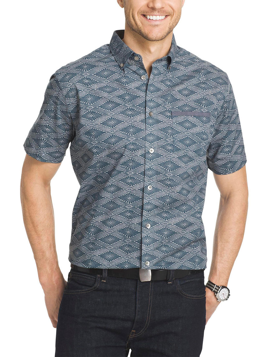 Van Heusen Turq Seabed Casual Button Down Shirts