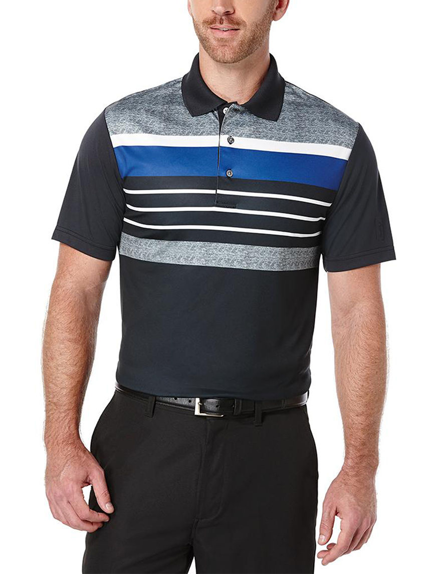 Pga tour color block striped print polo shirt stage stores for Polo color block shirt