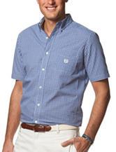 Chaps Woven Blue & White Plaid Shirt