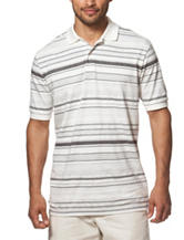 Chaps White & Charcoal Striped Print Polo Shirt