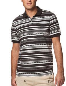 Chaps Black & White Striped Print Polo Shirt
