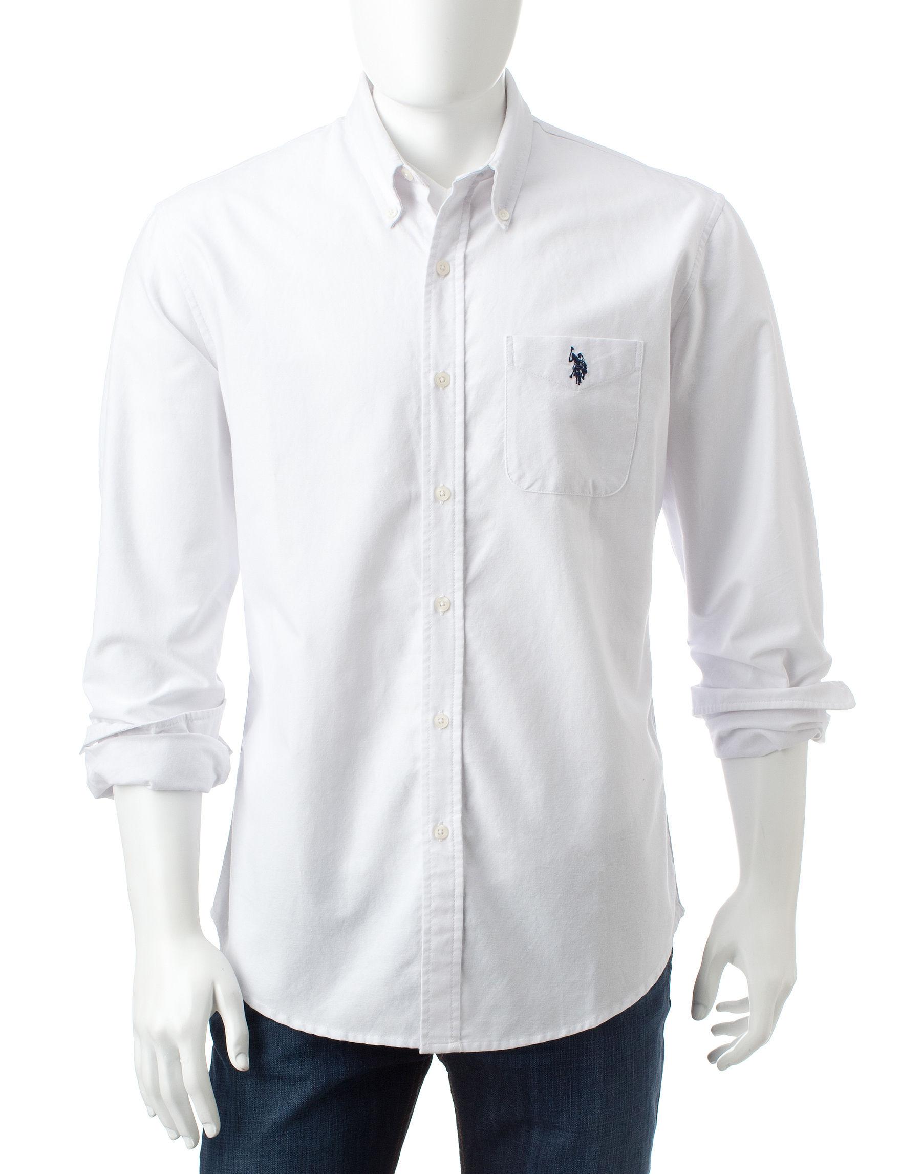 U.S. Polo Assn. White Casual Button Down Shirts