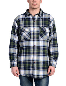 Stanley Blue / Green Casual Button Down Shirts
