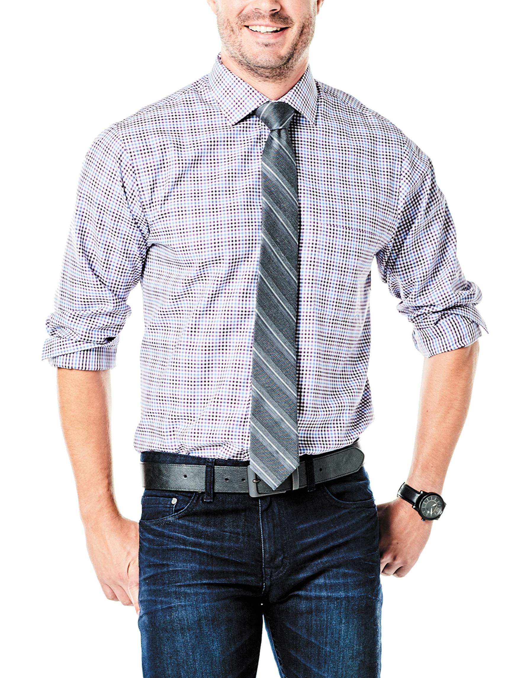 Van Heusen Purple Casual Button Down Shirts