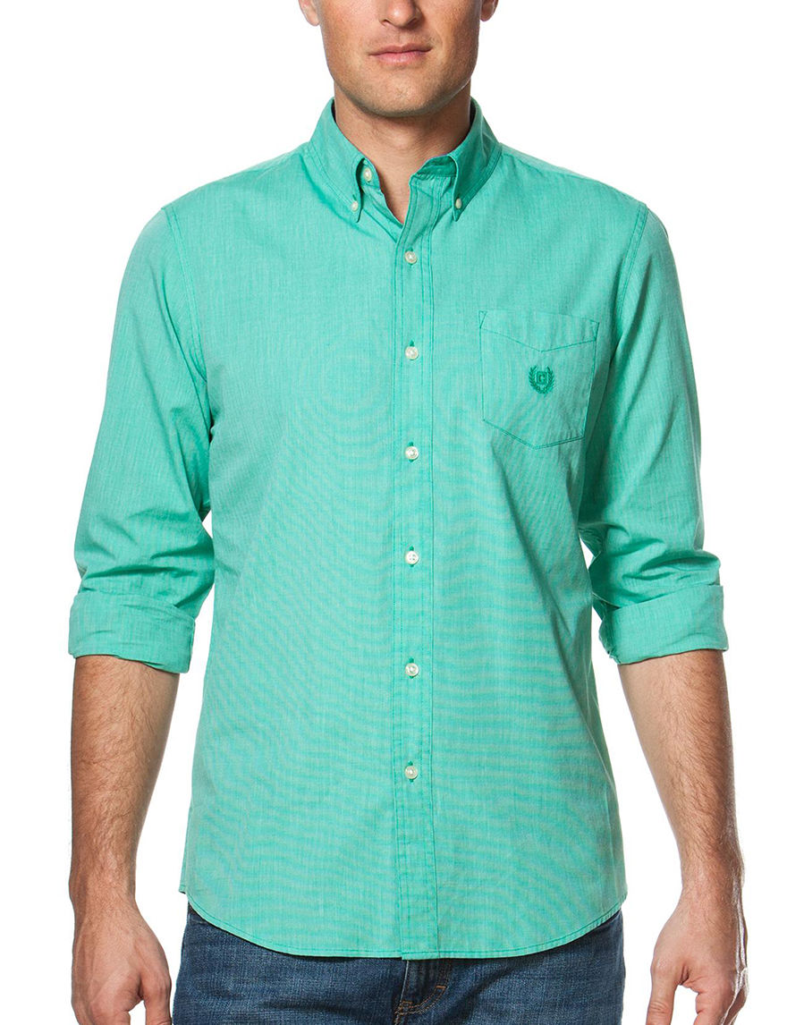 Chaps Green Casual Button Down Shirts
