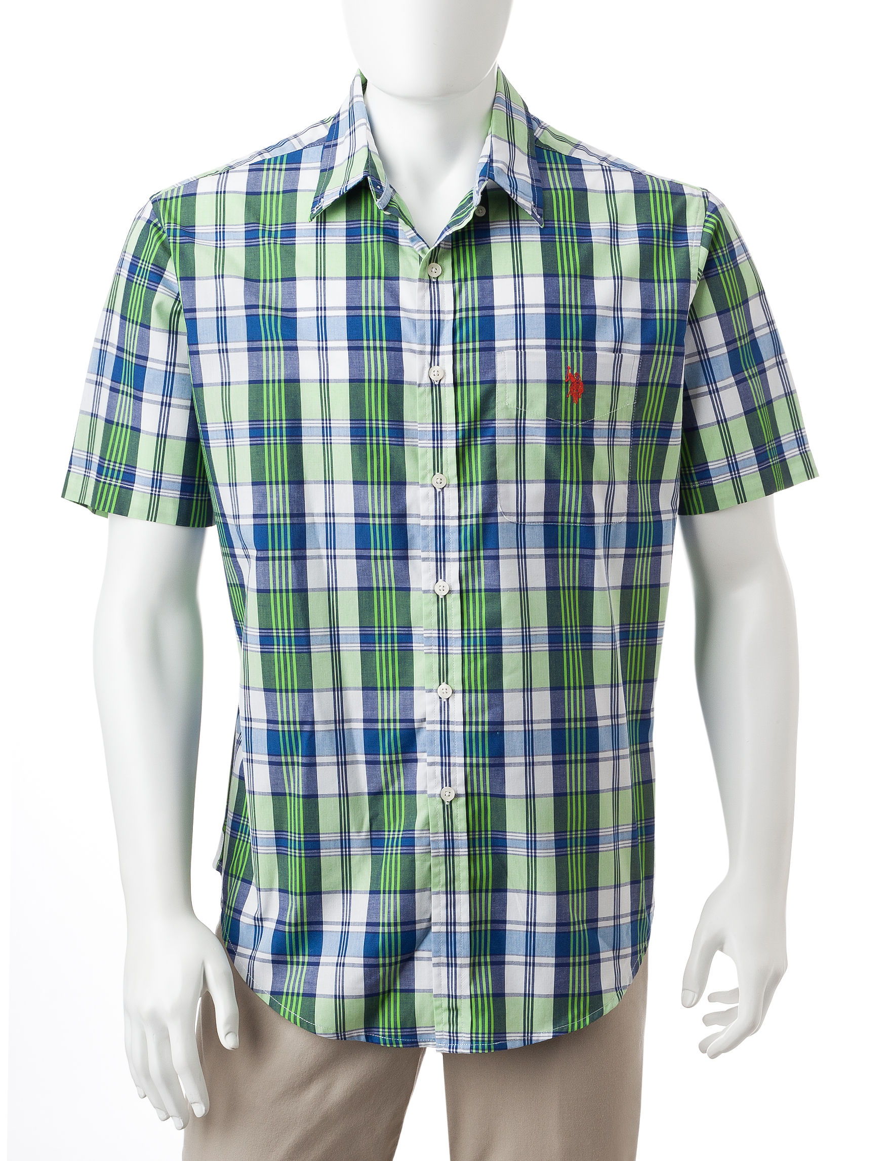 U.S. Polo Assn. Green Plaid Casual Button Down Shirts
