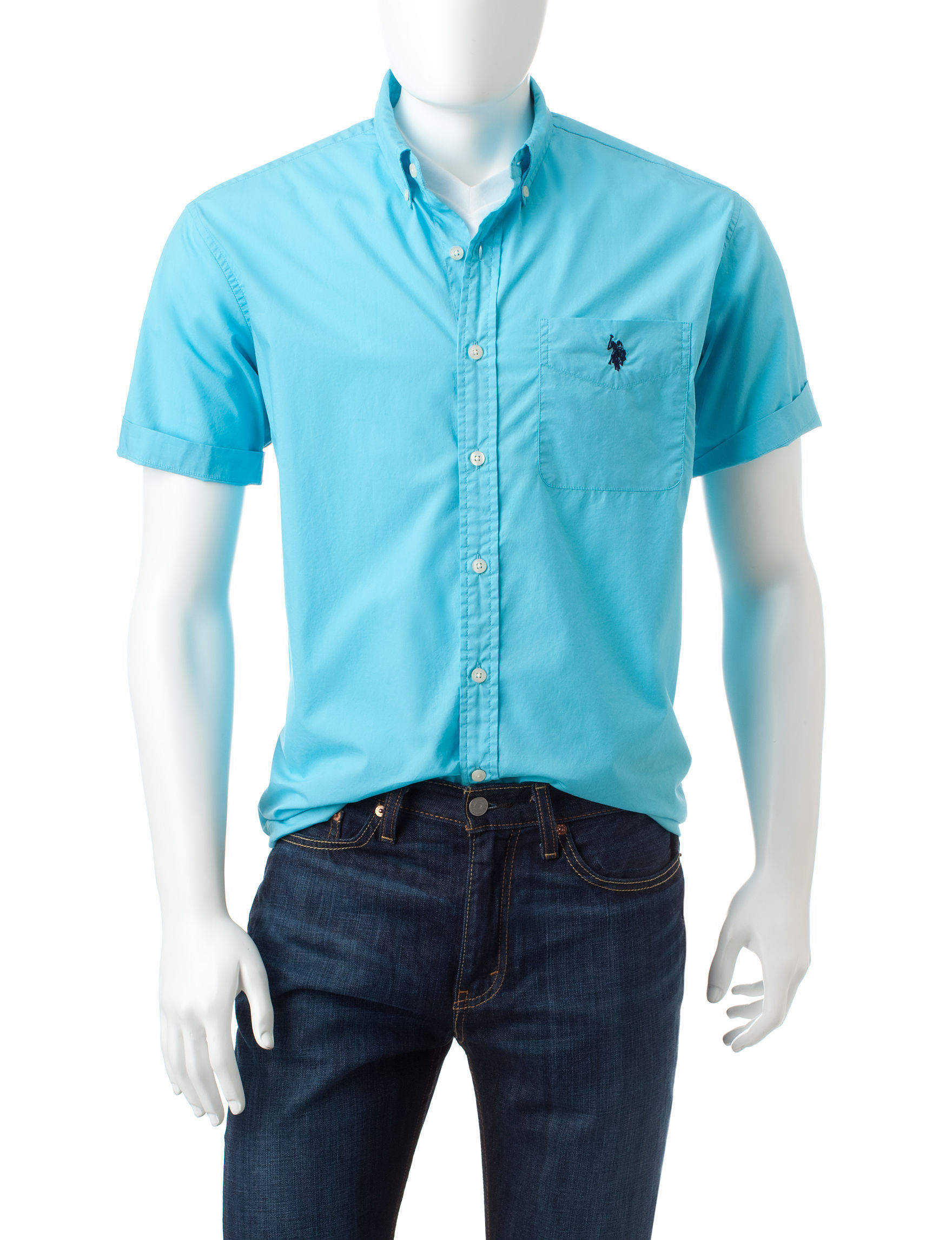 U.S. Polo Assn. Blue Casual Button Down Shirts
