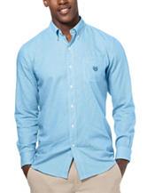 Chaps Big & Tall Teal Gingham Woven Shirt