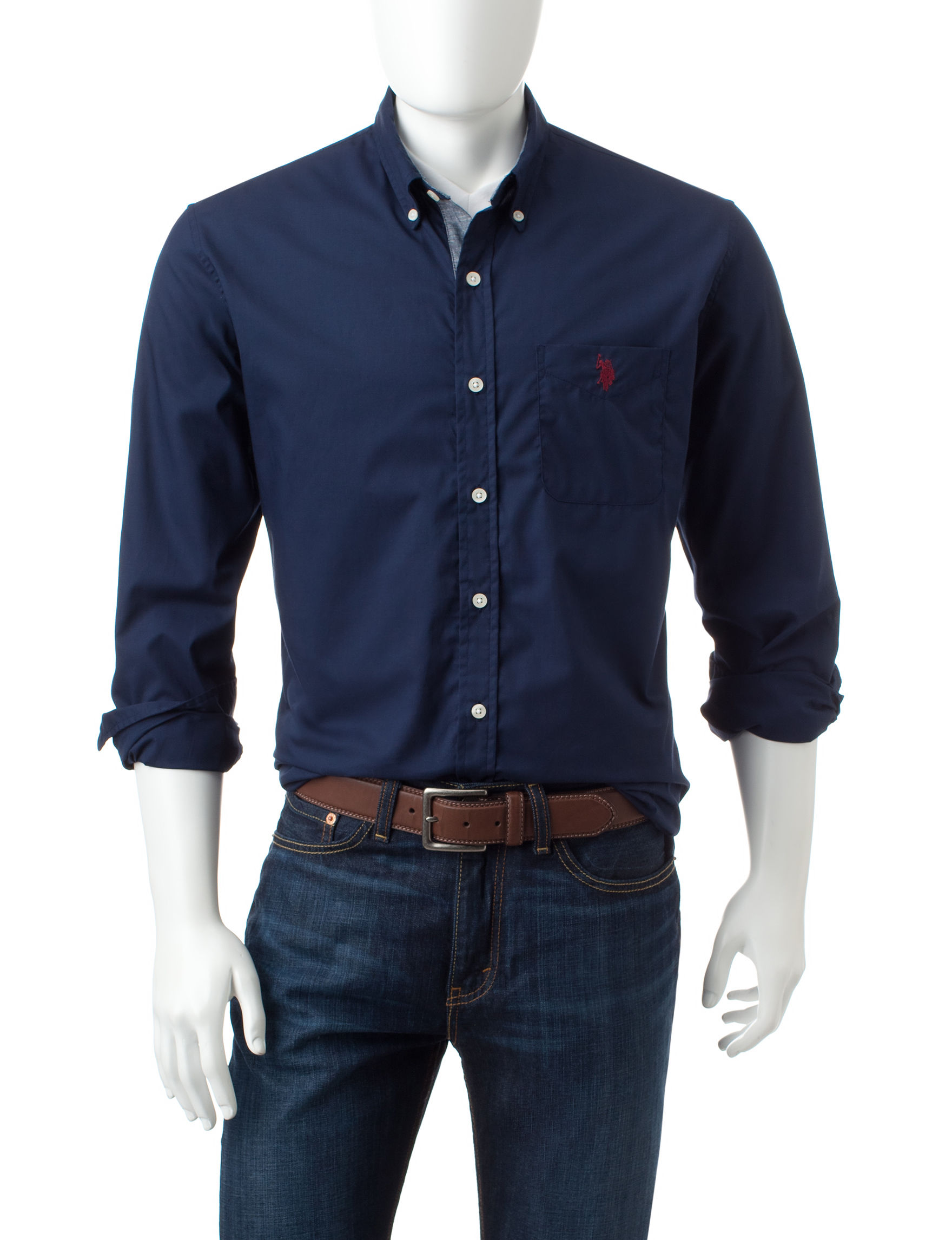 U.S. Polo Assn. Navy Casual Button Down Shirts
