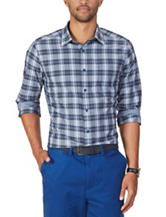 Nautica Navy & White Plaid Print Shirt