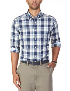 Nautica Marine Blue Casual Button Down Shirts