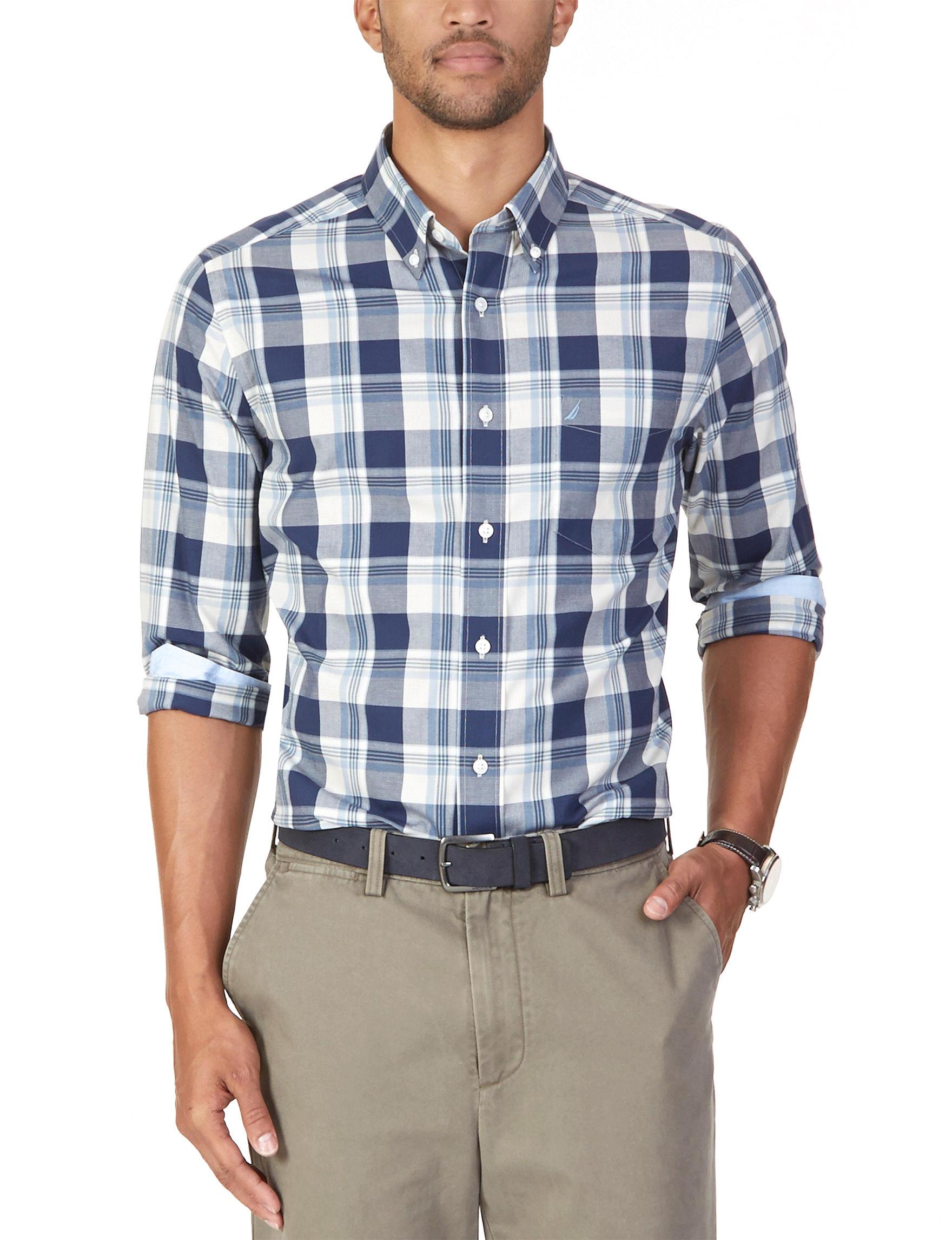 Nautica Marine Blue Casual Button Down Shirts