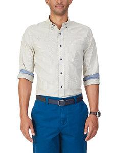 Nautica White Casual Button Down Shirts