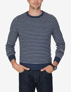 Nautica Striped Print Crew Sweater